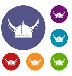 Viking helmet icons set vector