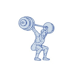 Weightlifter lifting barbell mono line vector