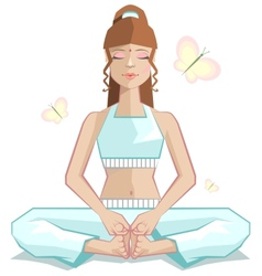 Yoga the girl meditates in a pose of a butterfly vector