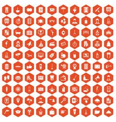 100 hotel services icons hexagon orange vector