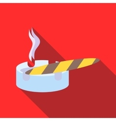 Cigar burned and ashtray icon  flat style vector