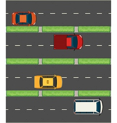 Aerial view of cars on the roads vector