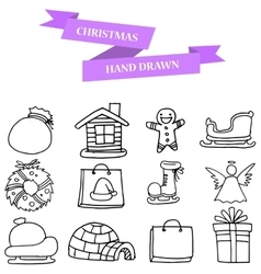 Hand draw of christmas winter icons set vector