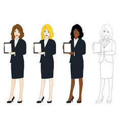 Business woman presentation tablet vector