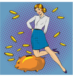 Woman and piggy bank pop vector