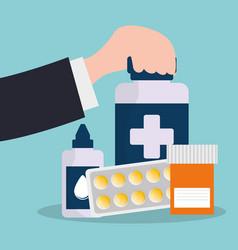 Hand holding bottle medicine pharmacy service vector
