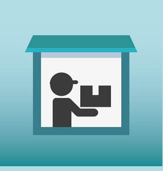 Silhouette human lifting box delivery vector