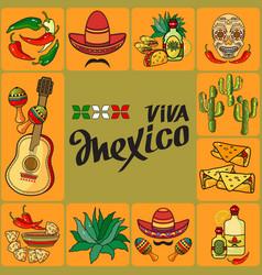 handwritten words viva mexico mexican icon vector image