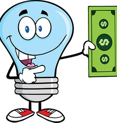 Light bulb with cash vector