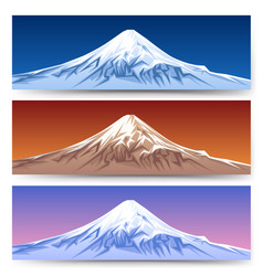 Snow capped mount fuji banners vector