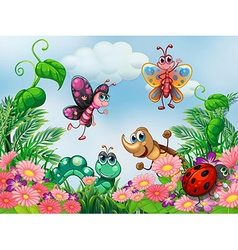 A garden with insects vector image