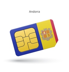 Andorra mobile phone sim card with flag vector