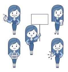 Five character business women vector image