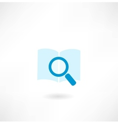Book with a magnifying glass icon vector