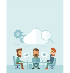 Three businessmen working together vector