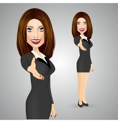 Business woman giving a right hand for vector