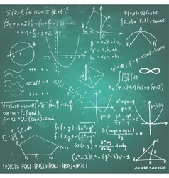 Mathematical formulas and drawings on a chalkboard vector