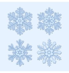 Snowflake winter set isolated on light background vector