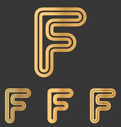 Bronze line f logo design set vector
