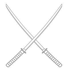 Crossed katana sword vector