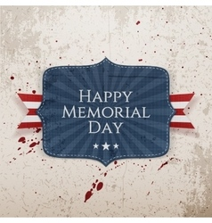 Happy memorial day sign with ribbon vector