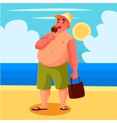 Fat man eating ice cream on the beach vector
