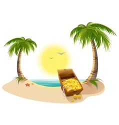 Pirate treasure chest on tropical island vector