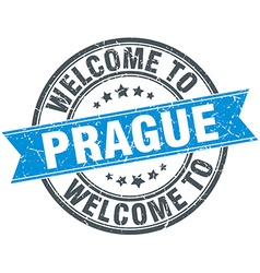 Welcome to prague blue round vintage stamp vector