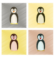 assembly flat shading style icons penguin vector image vector image