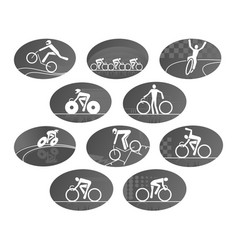 bicycle cycling race sport icons set vector image