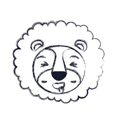 Blurred silhouette cute face of lion sticking out vector