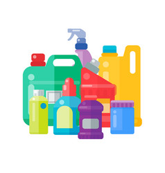 Bottles of household chemicals supplies cleaning vector