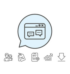Browser window line icon chat speech bubbles vector