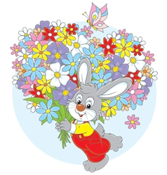 Bunny with flowers vector