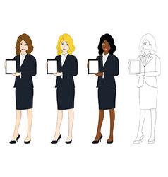 Business woman presentation tablet vector