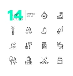 Camping and Hiking - line icons set vector image vector image