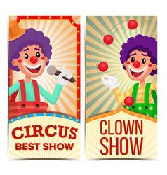 Circus clown vertical banners template vector
