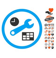 Date and time setup icon with valentine bonus vector