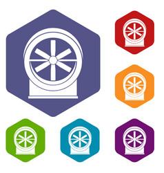 fan icons set hexagon vector image vector image
