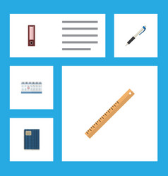 Flat icon stationery set of dossier pencil vector