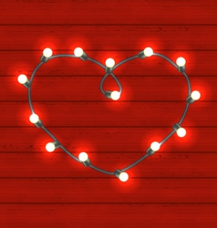 Garland heart shaped on red wooden background for vector image