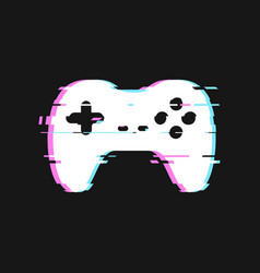 Glitched icon of gamepad vector