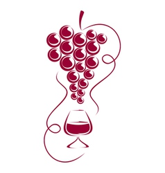 Grapes and wine glass vector