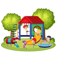 happy kids playing in the playground vector image vector image