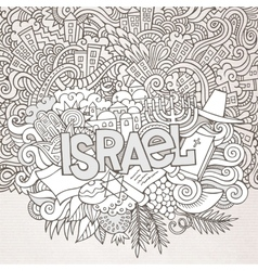 Israel hand lettering and doodles elements vector