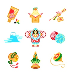 Japanese New Year symbols vector image