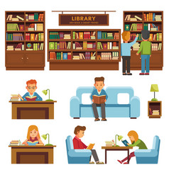 library books and people reading in bookshop vector image