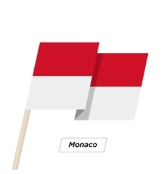 Monaco ribbon waving flag isolated on white vector