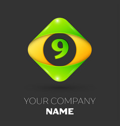 Number nine logo symbol in colorful rhombus vector