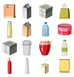 Package container icons set cartoon style vector image